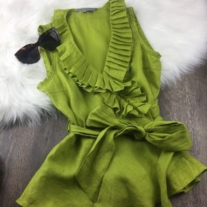 Green Linen wrap blouse w/ pleated ruffled collar